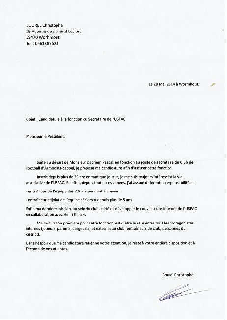 lettre ce Christophe Bourel