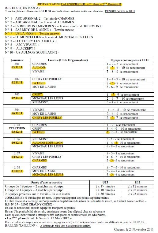 U11 - Phase 2 - Saison 2011/2012
