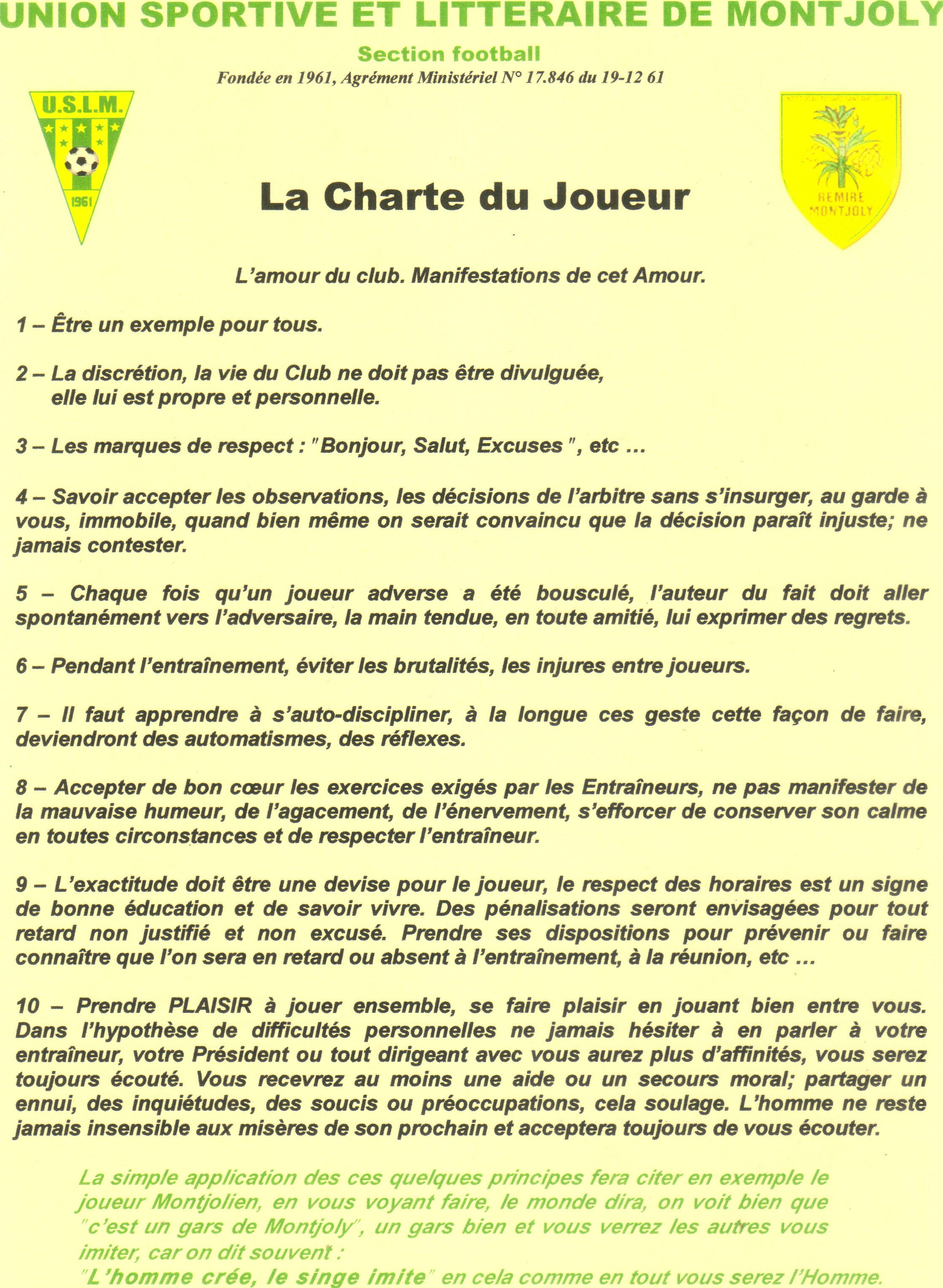 guide du parent du jeune joueur - club football union sportive et litteraire de montjoly