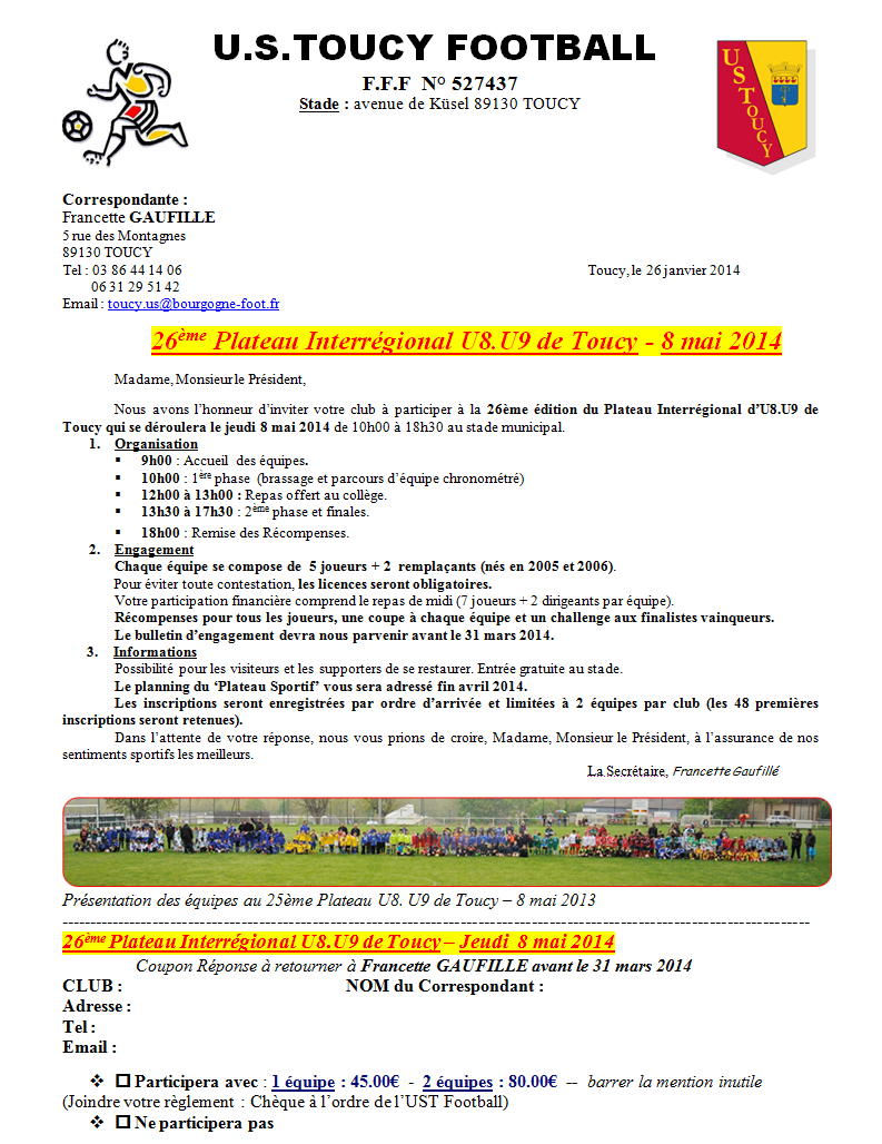 Actualit invitation tournoi u8 u9 club football us for D et co inscription