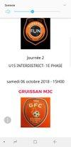 U15 Prochain match - GRUISSAN FOOTBALL CLUB