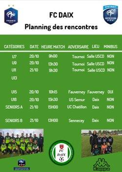 Planning Rencontres du 20 et 21 Octobre