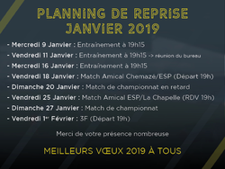[SENIORS] Planning de reprise Janvier 2019