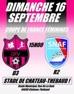 Match de Coupe de France : GFV - SNAF ! #GoGFV ! - Groupement Féminin du Vignoble