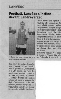 ARTICLE DE PRESSE SAISON 2010/2011  - Ecole de football de lanvéoc Sports