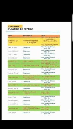Planning de reprise 2017/2018 - UNION SPORTIVE LENNONNAISE