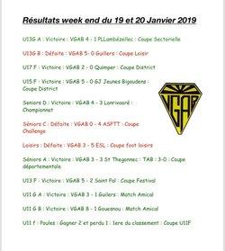 Résultats du week end 19,20 Janvier 2019