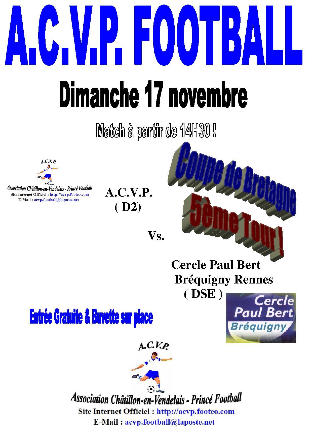 Actualit coupe de bretagne 5 me tour club football association ch tillon en vendelais - Coupe de bretagne seniors ...