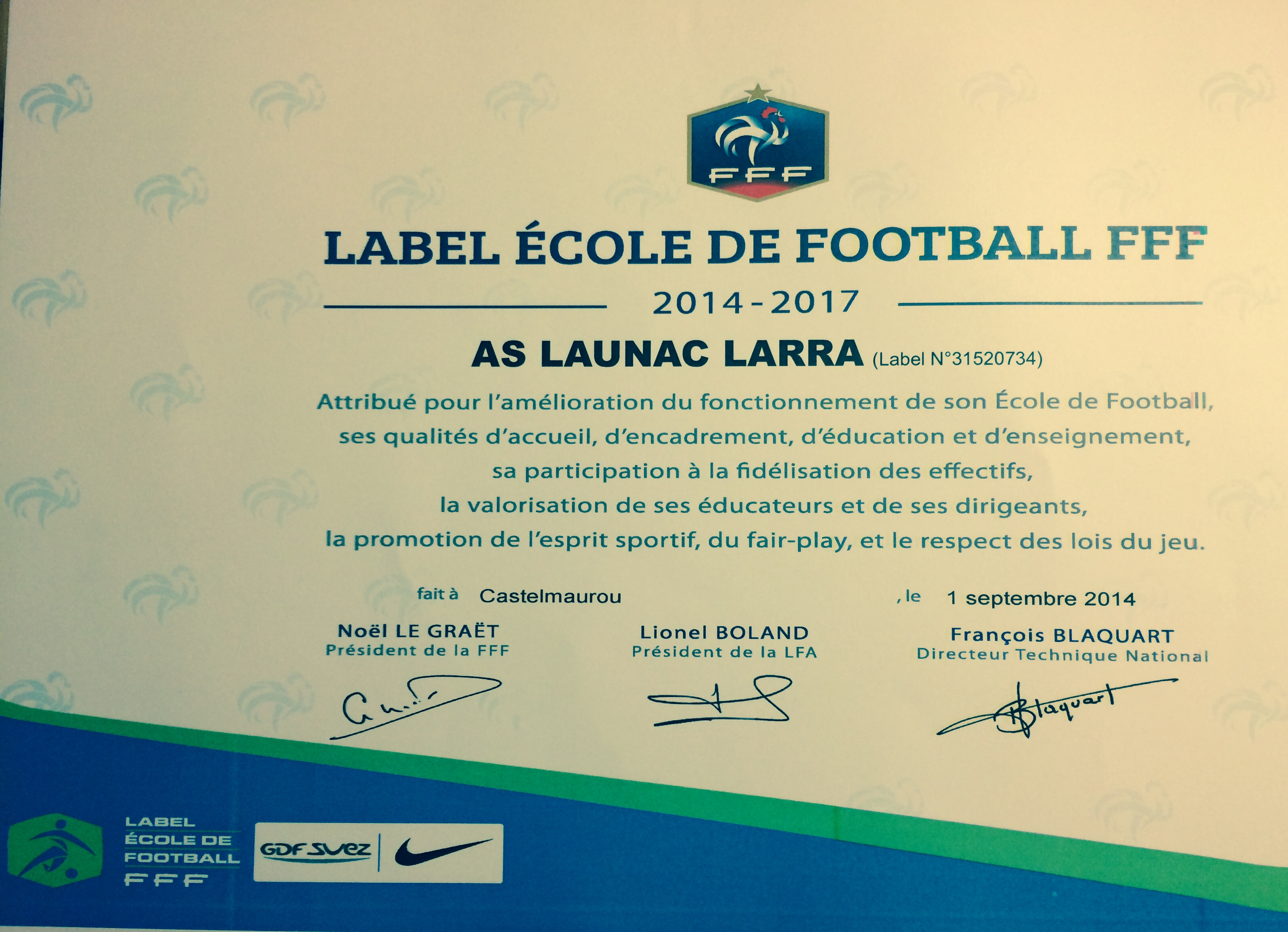 Label Ecole de Foot 2014-2017