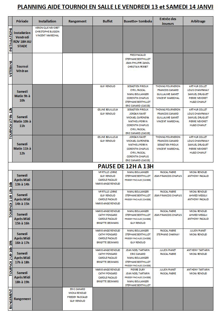 Planning tournoi