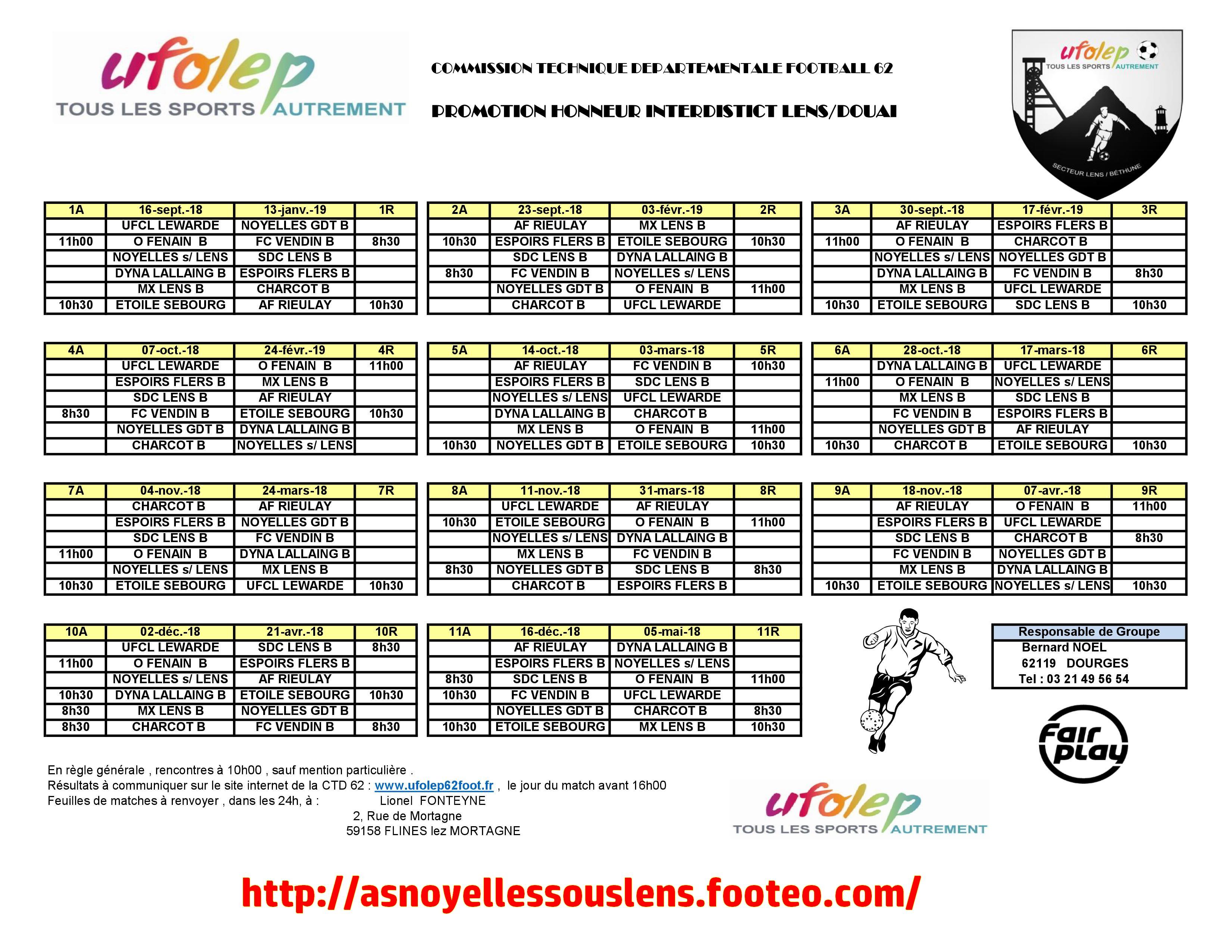 Calendrier Match Lens.Documentations Ufolep Club Football As Noyelles Sous Lens