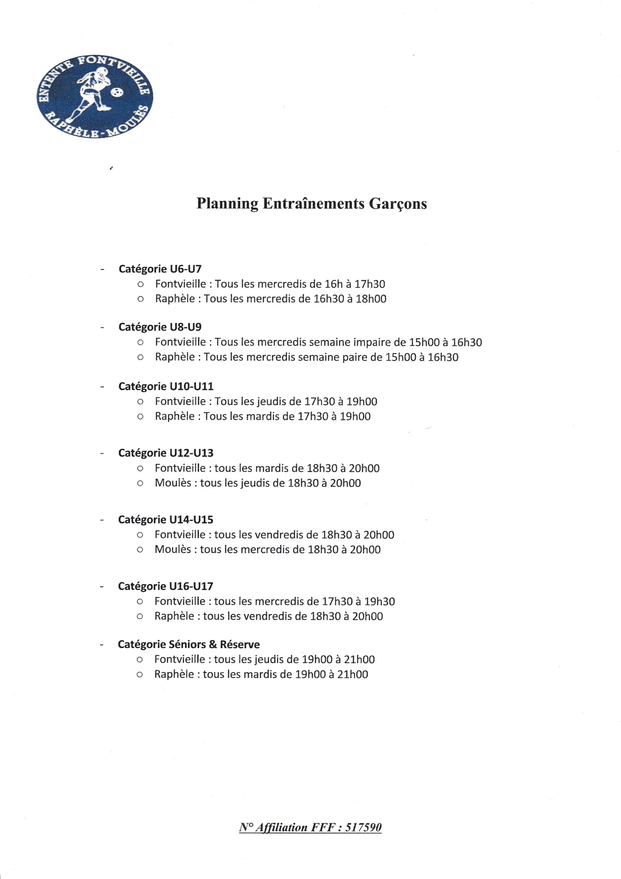 PLANNING ENTRAÎNEMENTS GARÇONS