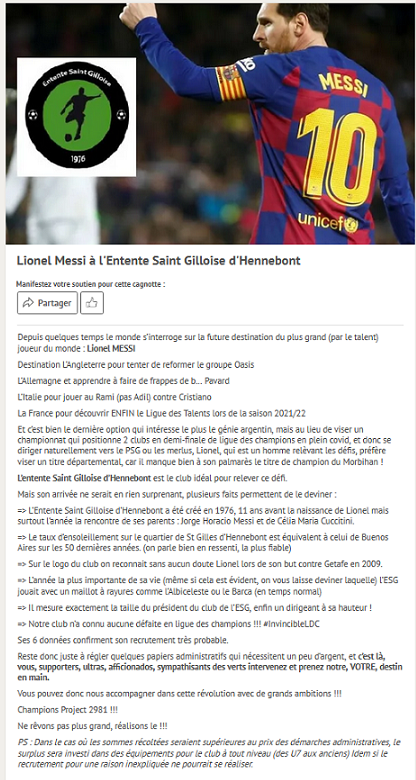 Leetchi cagnotte Messi