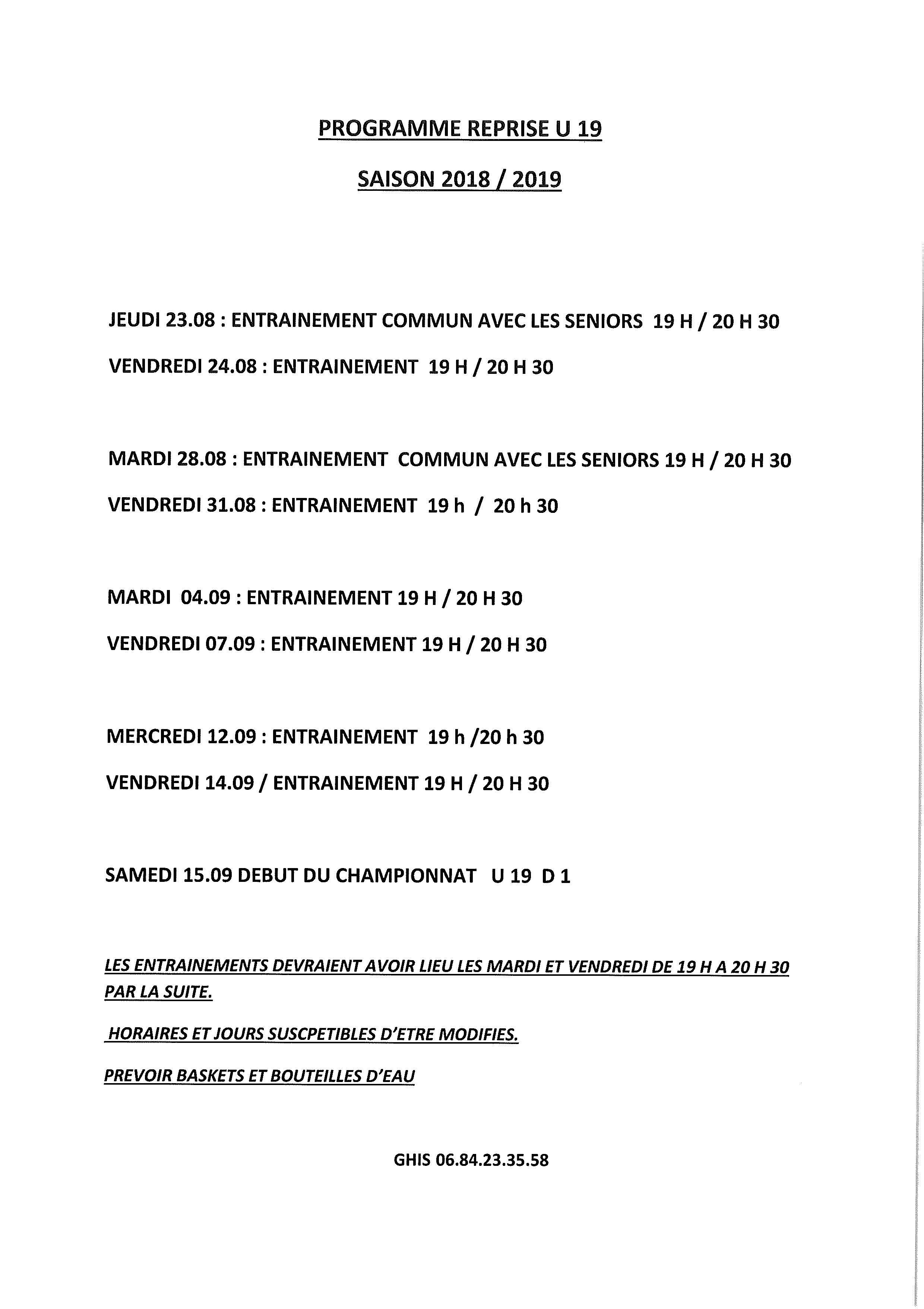 Programme reprise U19