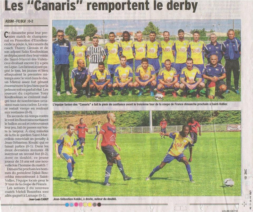 """Les """"Canaris"""" remportent le derby, Le Dauphine Libéré, 08/09/2015"""