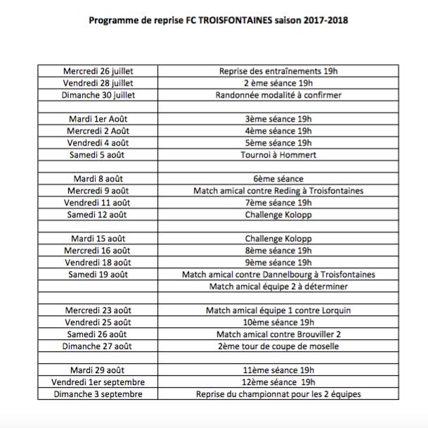 Programme de reprise FC Troisfontaines