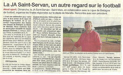 Article Jean luc Ouest France Coupe Région Bretagne