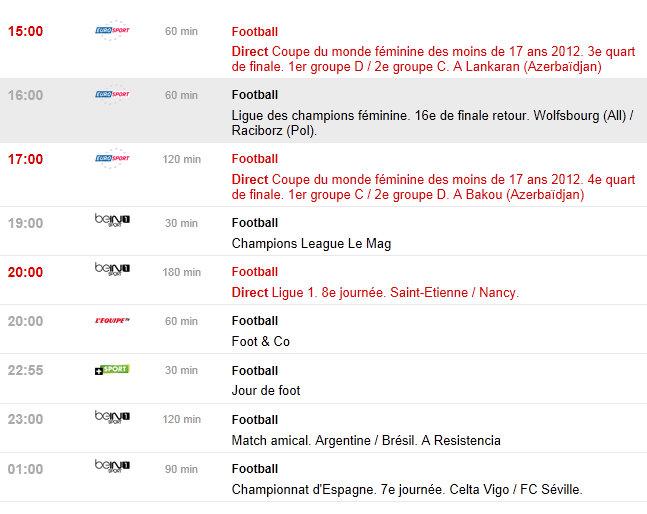 programme tv du 05/10/2012
