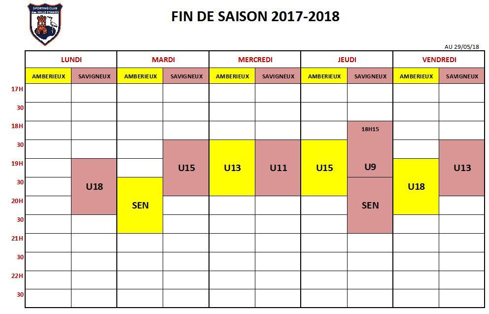 PLANNING FIN DE SAISON