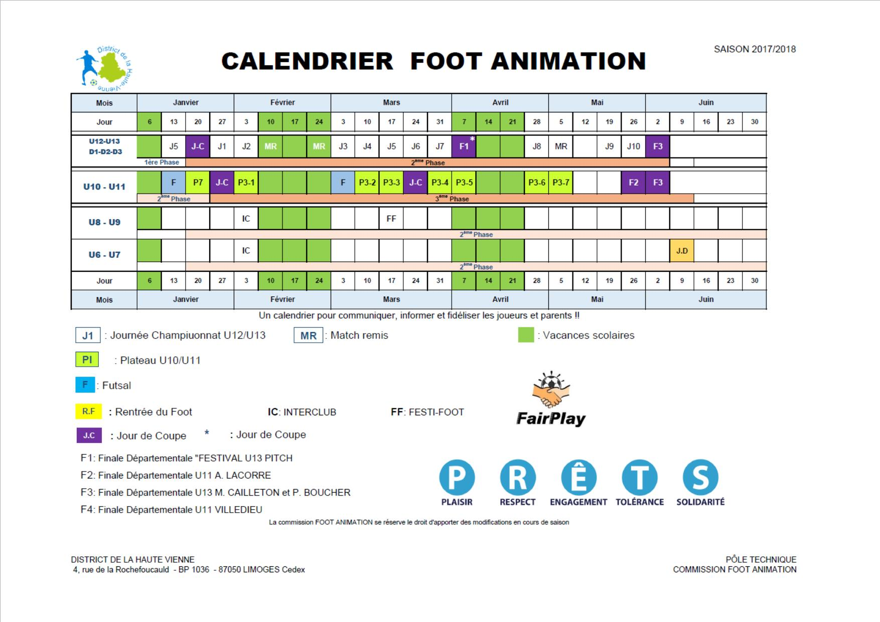 calendrier foot animation