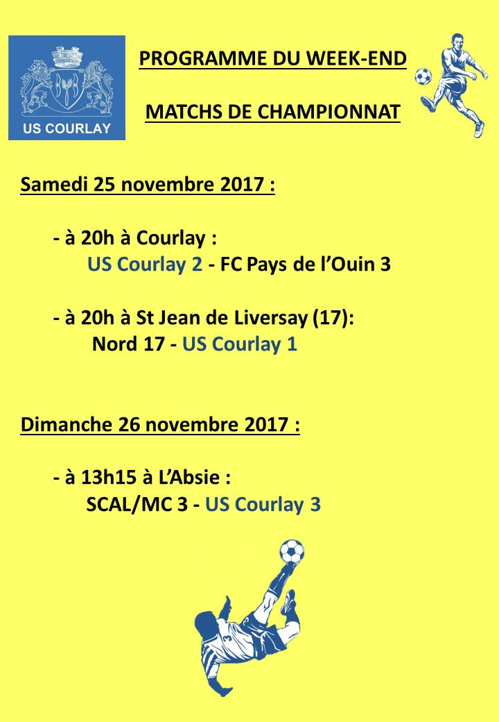 2017_11_23 Matchs_au_programme_du_week_end