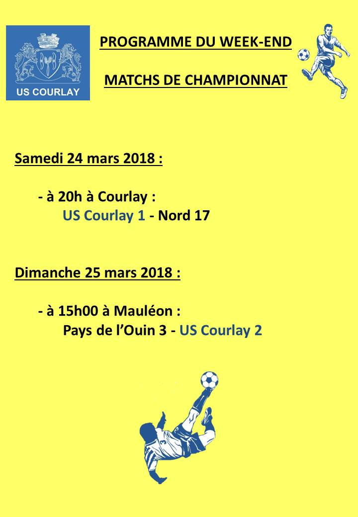 2018_03_23 Matchs_au_programme_du_week_end